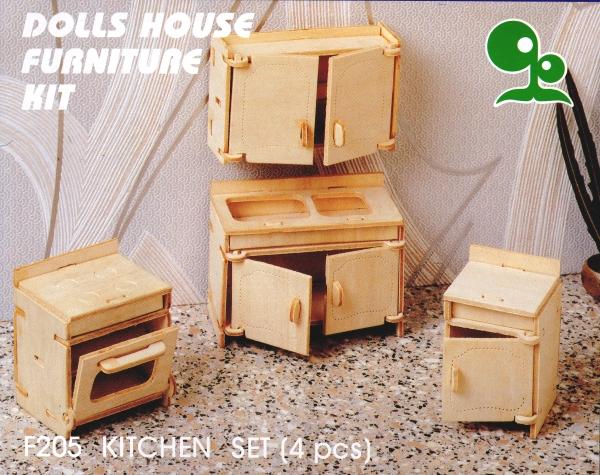 DOLLS HOUSE WOODEN FURNITURE KIT Kitchen Set 4 pieces Pre